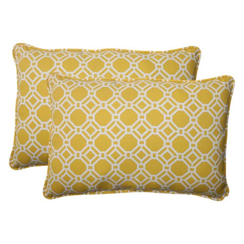 Pillow Perfect Outdoor Rossmere Corded Oversized Rectangular Throw Pillow in Yellow, Set of Two