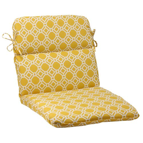 Pillow Perfect Outdoor Rossmere Rounded Chair Cushion in Yellow