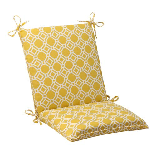 Pillow Perfect Outdoor Rossmere Squared Chair Cushion in Yellow