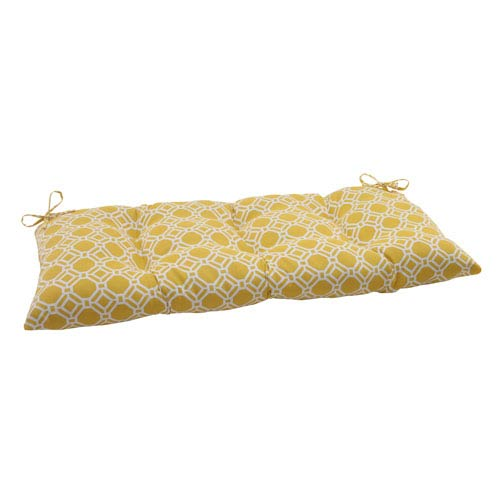 Pillow Perfect Outdoor Rossmere Tufted Loveseat Cushion in Yellow