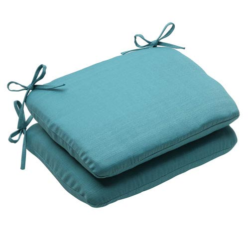 Pillow Perfect Outdoor Forsyth Rounded Seat Cushion in Turquoise, Set of Two