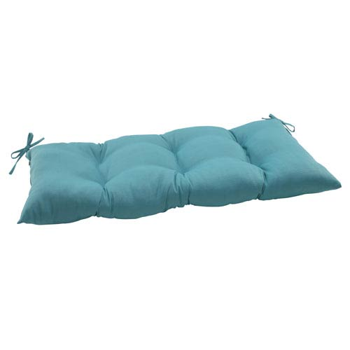 Pillow Perfect Outdoor Forsyth Tufted Loveseat Cushion in Turquoise