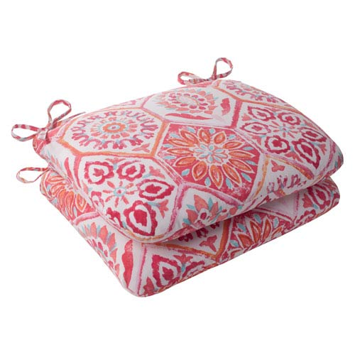 Pillow Perfect Outdoor Summer Breeze Rounded Seat Cushion in Flame, Set of Two