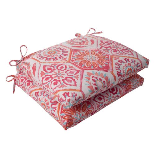 Pillow Perfect Outdoor Summer Breeze Squared Seat Cushion in Flame, Set of Two