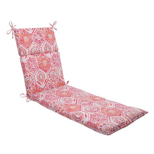 Pillow Perfect Outdoor Summer Breeze Chaise Lounge Cushion in Flame
