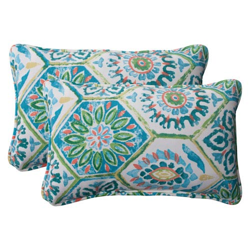 Pillow Perfect Outdoor Summer Breeze Corded Rectangular Throw Pillow in Pool, Set of Two
