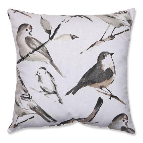 Pillow Perfect Bird Watcher Charcoal, Black, Taupe Pillow