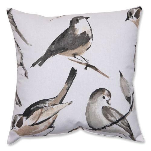 Bird Watcher Charcoal, Black, Taupe Pillow