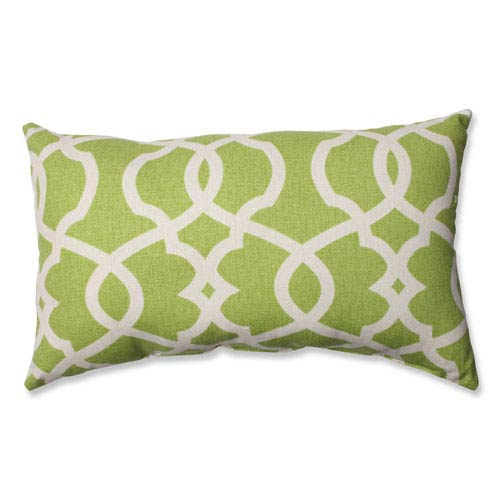 Pillow Perfect Lattice Damask Green, Beige Pillow