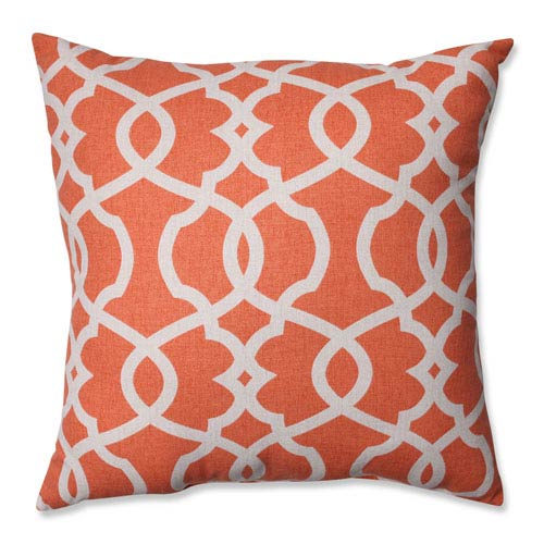 Lattice Damask Coral, Beige Pillow