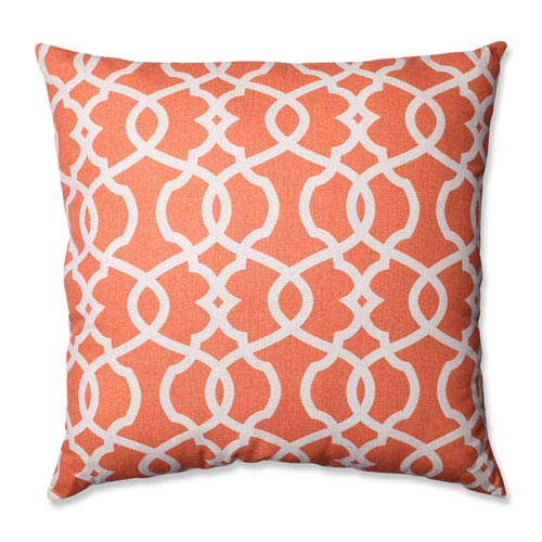 Pillow Perfect Lattice Damask Coral, Beige Floor Pillow