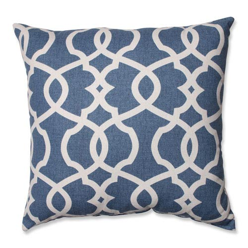 Pillow Perfect Lattice Damask Blue, Beige Pillow