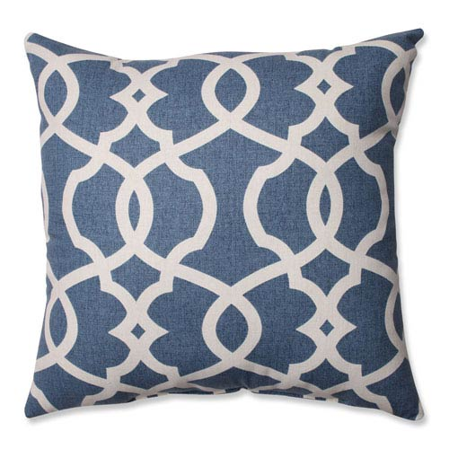 Pillow Perfect Lattice Damask Blue, Beige Pillow