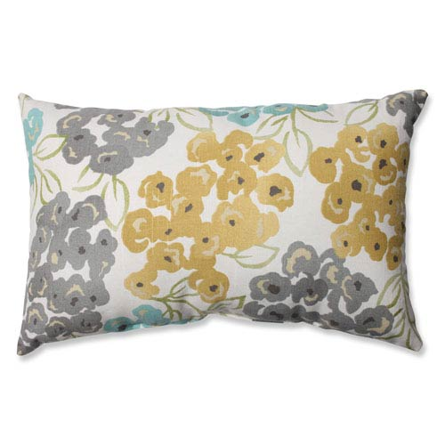 Luxury Floral Pool Aqua, Grey, Yellow Pillow