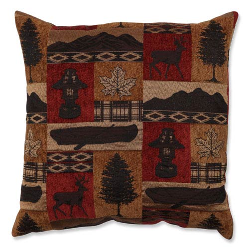 Redstone Lodge Brown and Red 18-Inch Throw Pillow
