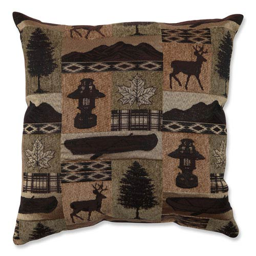 Lodge Brown and Green 18-Inch Throw Pillow