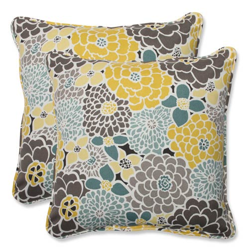 Pillow Perfect Blue and Tan Outdoor Full Bloom 18.5-inch Throw Pillow, Set of 2