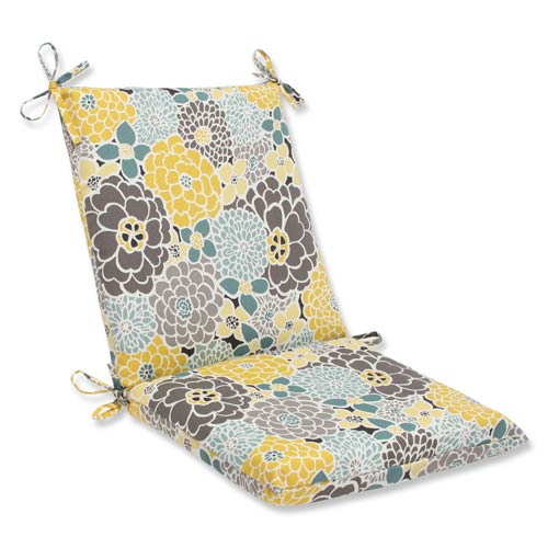 Blue and Tan Outdoor Full Bloom Squared Corners Chair Cushion