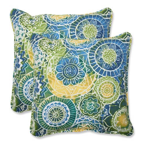 Blue and Green Outdoor Omnia Lagoon 18.5-inch Throw Pillow, Set of 2