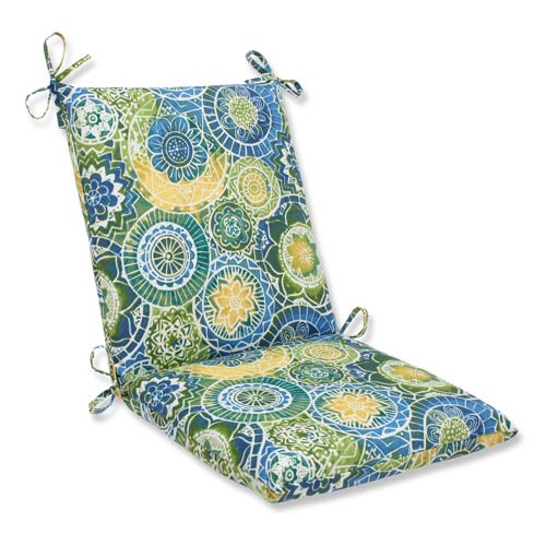 Pillow Perfect Blue and Green Outdoor Omnia Lagoon Squared Corners Chair Cushion