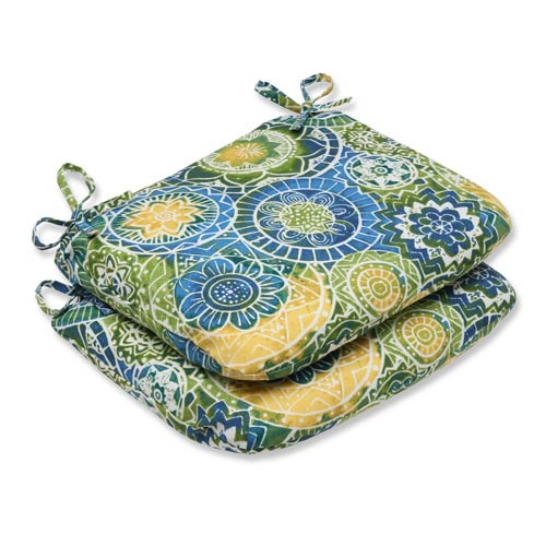 Pillow Perfect Blue and Green Outdoor Omnia Lagoon Rounded Corners Seat Cushion, Set of 2