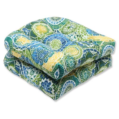 Pillow Perfect Blue and Green Outdoor Omnia Lagoon Wicker Seat Cushion, Set of 2