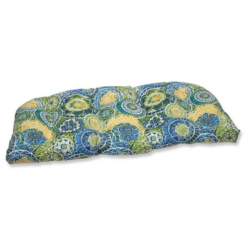 Pillow Perfect Blue and Green Outdoor Omnia Lagoon Wicker Loveseat Cushion