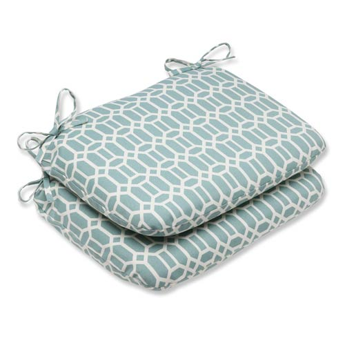 Pillow Perfect Blue Outdoor Rhodes Quartz Rounded Corners Seat Cushion, Set of 2