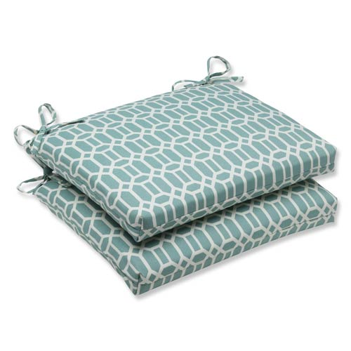 Pillow Perfect Blue Outdoor Rhodes Quartz Squared Corners Seat Cushion, Set of 2