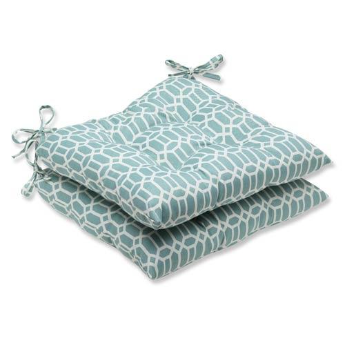 Pillow Perfect Blue Outdoor Rhodes Quartz Wrought Iron Seat Cushion, Set of 2