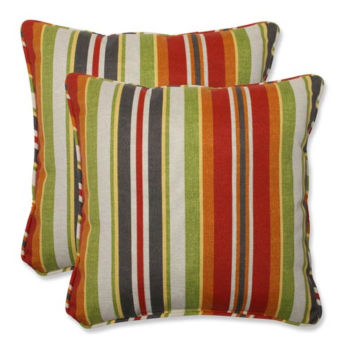Green and Red Outdoor Roxen Stripe Citrus 18.5-Inch Throw Pillow, Set of 2