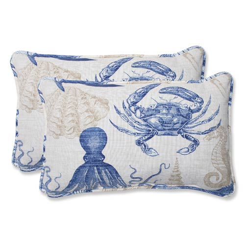 Blue and Tan Outdoor Sealife Marine Rectangular Throw Pillow, Set of 2
