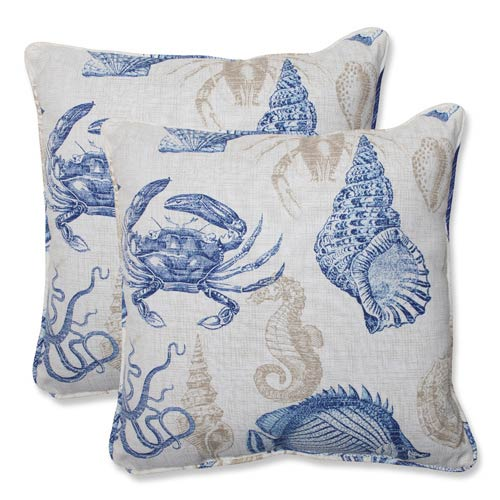 Blue and Tan Outdoor Sealife Marine 18.5-inch Throw Pillow, Set of 2