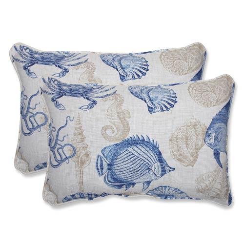 Blue and Tan Outdoor Sealife Marine Over-sized Rectangular Throw Pillow, Set of 2