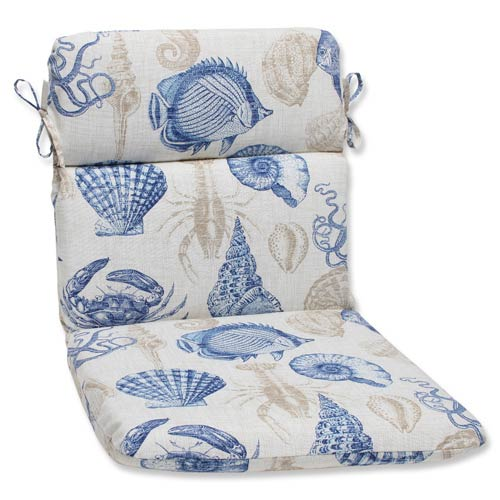 Pillow Perfect Blue and Tan Outdoor Sealife Marine Rounded Corners Chair Cushion
