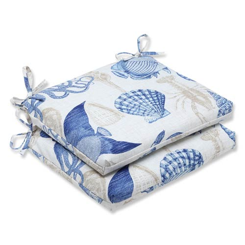 Blue and Tan Outdoor Sealife Marine Squared Corners Seat Cushion, Set of 2