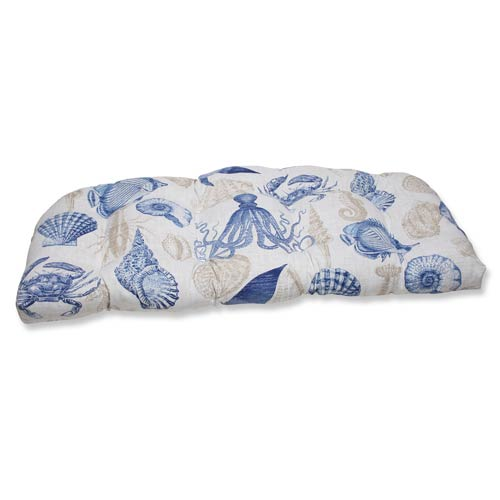 Pillow Perfect Blue and Tan Outdoor Sealife Marine Wicker Loveseat Cushion