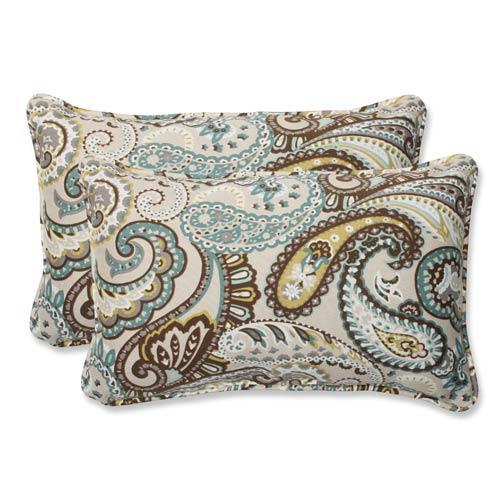 Blue and Brown Outdoor Tamara Paisley Quartz Rectangular Throw Pillow, Set of 2