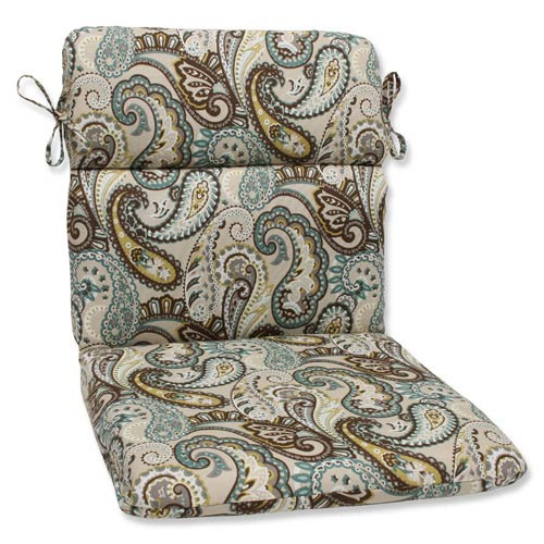 Blue and Brown Outdoor Tamara Paisley Quartz Rounded Corners Chair Cushion