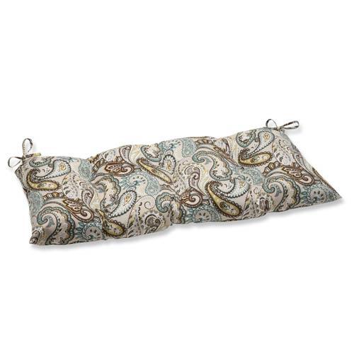 Blue and Brown Outdoor Tamara Paisley Quartz Wrought Iron Loveseat Cushion