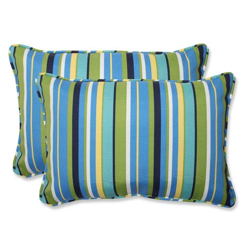 Blue and Green Outdoor Topanga Stripe Lagoon Over-sized Rectangular Throw Pillow, Set of 2
