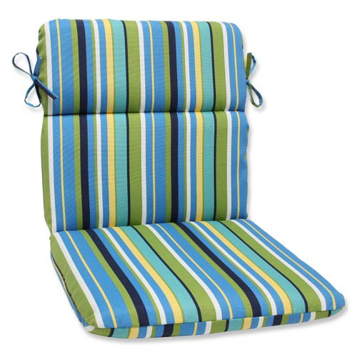 Blue and Green Outdoor Topanga Stripe Lagoon Rounded Corners Chair Cushion