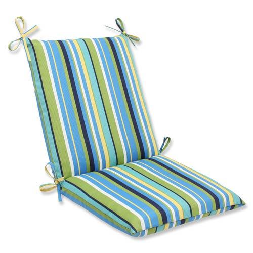 Pillow Perfect Blue and Green Outdoor Topanga Stripe Lagoon Squared Corners Chair Cushion