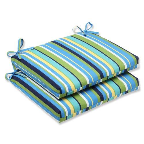 Blue and Green Outdoor Topanga Stripe Lagoon Squared Corners Seat Cushion, Set of 2