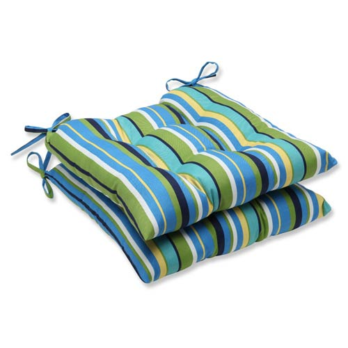 Blue and Green Outdoor Topanga Stripe Lagoon Wrought Iron Seat Cushion, Set of 2