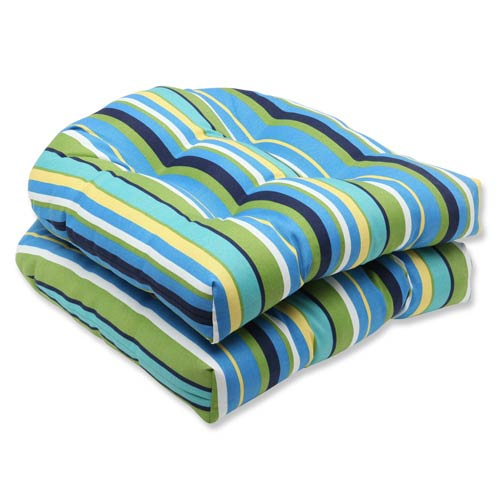 Pillow Perfect Blue and Green Outdoor Topanga Stripe Lagoon Wicker Seat Cushion, Set of 2