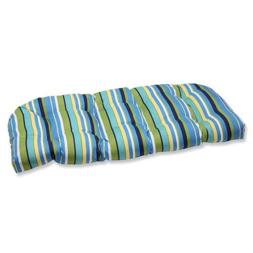 Pillow Perfect Blue and Green Outdoor Topanga Stripe Lagoon Wicker Loveseat Cushion