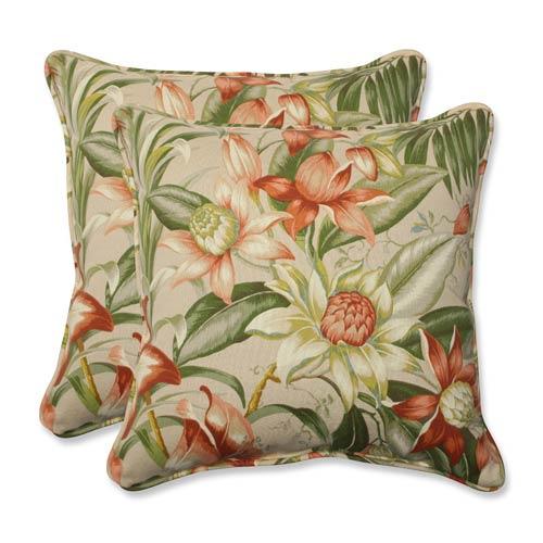 Pillow Perfect Tan Outdoor Botanical Glow Tiger Stripe 18.5-Inch Throw Pillow, Set of 2
