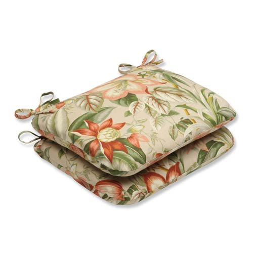 Tan Outdoor Botanical Glow Tiger Stripe Rounded Corners Seat Cushion, Set of 2