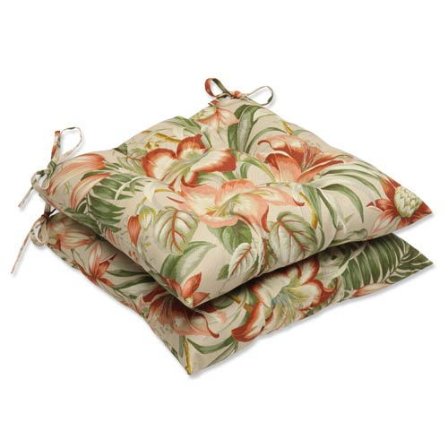 Tan Outdoor Botanical Glow Tiger Stripe Wrought Iron Seat Cushion, Set of 2
